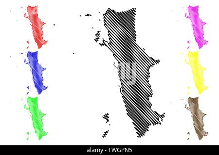 Al Hudaydah Governorate (Governorates of Yemen, Republic of Yemen) map vector illustration, scribble sketch Western Coast map - Stock Photo