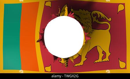 Hole cut in the flag of Sri Lanka - Stock Photo