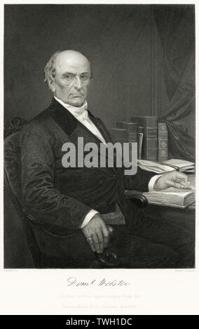 Daniel Webster (1782-1852), American Politician, Served as Congressman in the U.S. House of Representatives, Senator Secretary of State, Seated Portrait, Steel Engraving, Portrait Gallery of Eminent Men and Women of Europe and America by Evert A. Duyckinck, Published by Henry J. Johnson, Johnson, Wilson & Company, New York, 1873 - Stock Photo