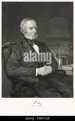 Henry Clay (1777-1852), American Statesmen, serving as Senator and Congressman from Kentucky, Speaker of the House and U.S. Secretary of State, Seated Portrait, Steel Engraving, Portrait Gallery of Eminent Men and Women of Europe and America by Evert A. Duyckinck, Published by Henry J. Johnson, Johnson, Wilson & Company, New York, 1873 - Stock Photo
