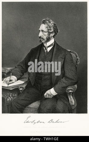 Edward Bulwer-Lytton (1803-73), 1st Baron Lytton, English Poet, Novelist and Politician, Steel Engraving, Portrait Gallery of Eminent Men and Women of Europe and America by Evert A. Duyckinck, Published by Henry J. Johnson, Johnson, Wilson & Company, New York, 1873 - Stock Photo