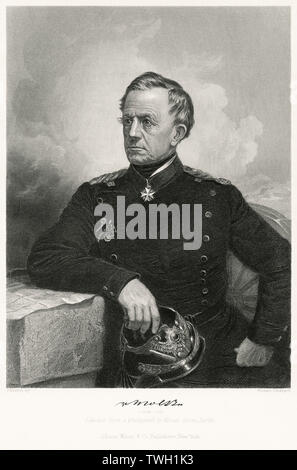 Helmuth von Moltke (1800-91), the Elder, Prussian Field Marshal and Chief of the German General Staff, Seated Portrait, Steel Engraving, Portrait Gallery of Eminent Men and Women of Europe and America by Evert A. Duyckinck, Published by Henry J. Johnson, Johnson, Wilson & Company, New York, 1873 - Stock Photo