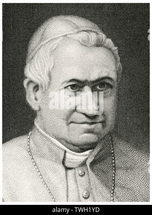 Pope Pius IX (1792-1878), Head of Catholic Church 1846-78, Head and Shoulders Portrait, Steel Engraving, Portrait Gallery of Eminent Men and Women of Europe and America by Evert A. Duyckinck, Published by Henry J. Johnson, Johnson, Wilson & Company, New York, 1873 - Stock Photo