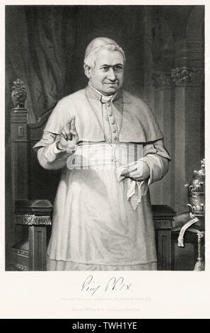 Pope Pius IX (1792-1878), Head of Catholic Church 1846-78, Three-quarter Length Portrait, Steel Engraving, Portrait Gallery of Eminent Men and Women of Europe and America by Evert A. Duyckinck, Published by Henry J. Johnson, Johnson, Wilson & Company, New York, 1873 - Stock Photo