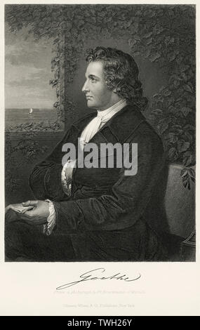 Johann Wolfgang von Goethe (1749-1832), German Writer and Statesman, Seated Portrait, Steel Engraving, Portrait Gallery of Eminent Men and Women of Europe and America by Evert A. Duyckinck, Published by Henry J. Johnson, Johnson, Wilson & Company, New York, 1873 - Stock Photo