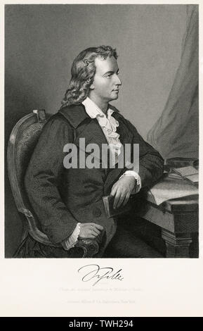 Freidrich Schiller (1759-1805), German Dramatist, Poet, and Literary Theorist, Seated Portrait, Steel Engraving, Portrait Gallery of Eminent Men and Women of Europe and America by Evert A. Duyckinck, Published by Henry J. Johnson, Johnson, Wilson & Company, New York, 1873 - Stock Photo