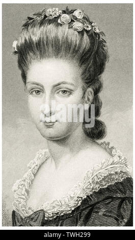 Sarah Van Brugh Livingston Jay (1756-1802), Wife of Founding Father John Jay, Head and Shoulders Portrait, Steel Engraving, Portrait Gallery of Eminent Men and Women of Europe and America by Evert A. Duyckinck, Published by Henry J. Johnson, Johnson, Wilson & Company, New York, 1873 - Stock Photo