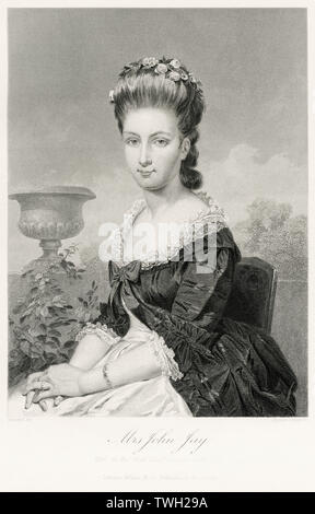 Sarah Van Brugh Livingston Jay (1756-1802), Wife of Founding Father John Jay, Seated Portrait, Steel Engraving, Portrait Gallery of Eminent Men and Women of Europe and America by Evert A. Duyckinck, Published by Henry J. Johnson, Johnson, Wilson & Company, New York, 1873 - Stock Photo