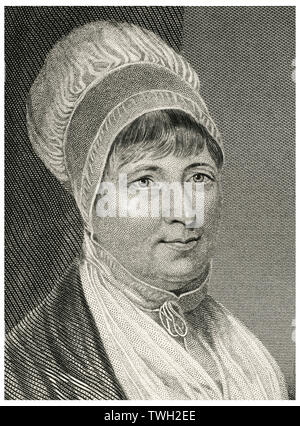 Elizabeth Fry (1780-1845), English Prison and Social Reformer, Head and Shoulders Portrait, Steel Engraving, Portrait Gallery of Eminent Men and Women of Europe and America by Evert A. Duyckinck, Published by Henry J. Johnson, Johnson, Wilson & Company, New York, 1873 - Stock Photo