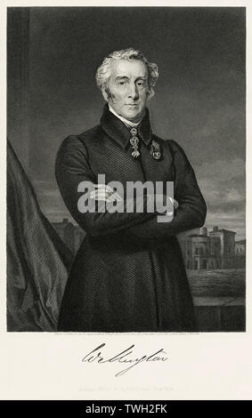 Arthur Wellesley (1769-1852), 1st Duke of Wellington, Leading British Military and Political Figure, serving twice as Prime Minister of the United Kingdom 1828-30, 1834-34, Three-Quarter Length Portrait, Steel Engraving, Portrait Gallery of Eminent Men and Women of Europe and America by Evert A. Duyckinck, Published by Henry J. Johnson, Johnson, Wilson & Company, New York, 1873 - Stock Photo