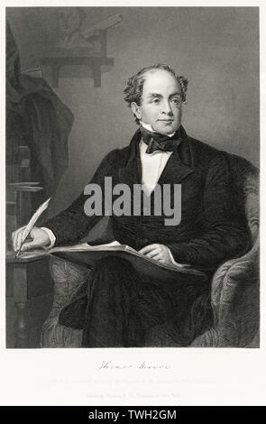 Thomas Moore (1779-1852), Irish Poet Composer and Political Propagandist, Seated Portrait, Steel Engraving, Portrait Gallery of Eminent Men and Women of Europe and America by Evert A. Duyckinck, Published by Henry J. Johnson, Johnson, Wilson & Company, New York, 1873 - Stock Photo