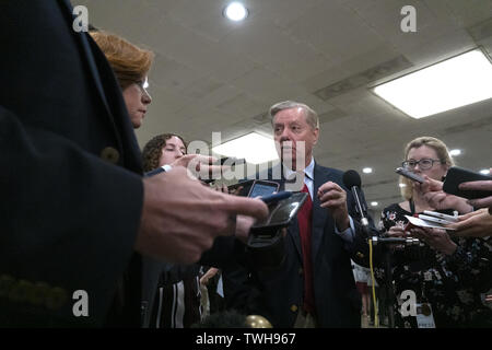 Washington, District of Columbia, USA. 20th June, 2019. United States Senator Lindsey Graham (Republican of South Carolina) speaks to the media following a closed door briefing on Iran on Capitol Hill in Washington, DC, U.S. on June 20, 2019 Credit: Stefani Reynolds/CNP/ZUMA Wire/Alamy Live News - Stock Photo