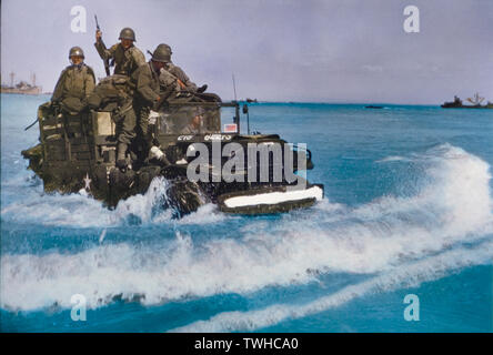 U.S. Military Truck with Soldiers driving through water toward shore during Invasion of Normandy, France, June 1944 - Stock Photo