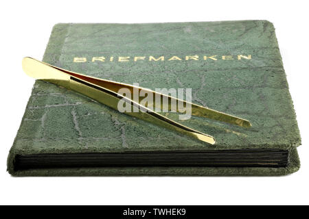 vintage German stamp album isolated on white background - Stock Photo