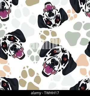 Pattern Dog paws Dalmatian - Seamless pattern with playful illustration of a dog and paw prints. The smiling dog is a great gift for dog owners. - Stock Photo