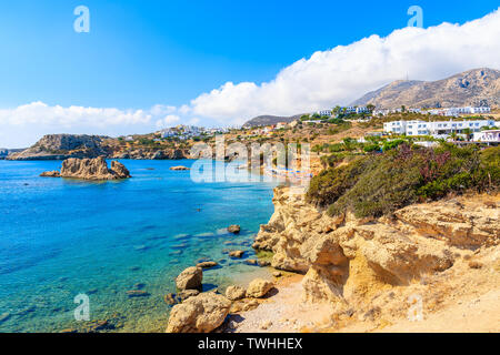 View of beautiful beach in Ammopi village on Karpathos island, Greece - Stock Photo