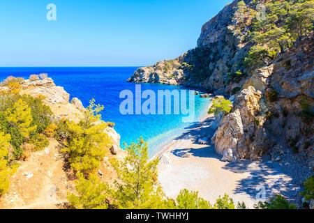 Small sea bay at Apella beach on Karpathos island, Greece