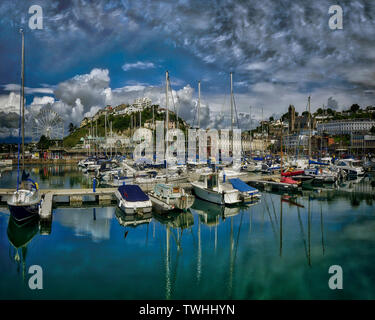 GB - DEVON: View of the Inner Harbour and Town at Torquay  (HDR-Image) - Stock Photo