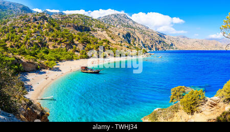 Panoramic view of beautiful Apella beach on Karpathos island, Greece