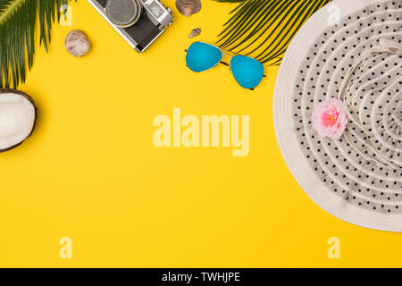 Summer vacation concept. stylish sunglasses, retro photo camera and green palm leaves on yellow background, flat lay. space for text. - Stock Photo