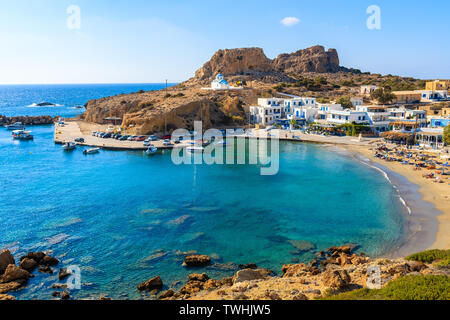 View of Finiki port and beach, Karpathos island, Greece - Stock Photo