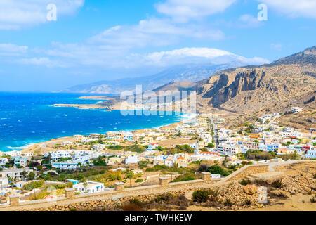 View of beautiful sea and coast near Lefkos beach, Karpathos island, Greece - Stock Photo