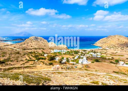 Beautiful sea coast of Karpathos island near Finiki village, Greece - Stock Photo