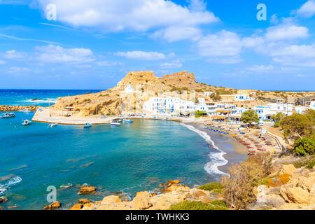 View of beautiful Finiki beach and port, Karpathos island, Greece - Stock Photo