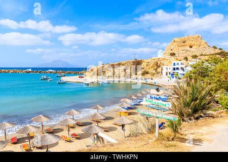 View of beautiful Finiki beach and port, Karpathos island, Greece - Stock Photo
