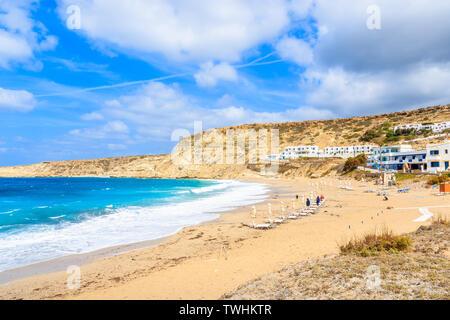 View of Lefkos beach and sea waves, Karpathos island, Greece - Stock Photo