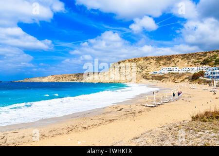 Beautiful beach in Lefkos village on sea coast of Karpathos island, Greece - Stock Photo
