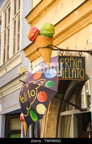 PRAGUE, CZECH REPUBLIC - JULY 2018: Signs outside an ice cream shop in Prague city centre. - Stock Photo