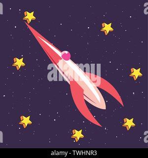 space ship rocket galaxy stars travel vector illustration - Stock Photo