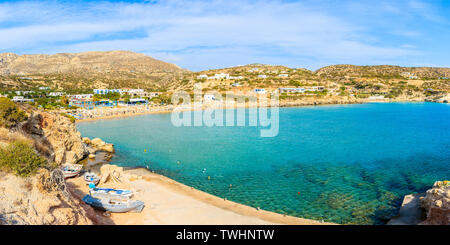Panoramic view of beautiful beach in Ammopi village on Karpathos island, Greece - Stock Photo