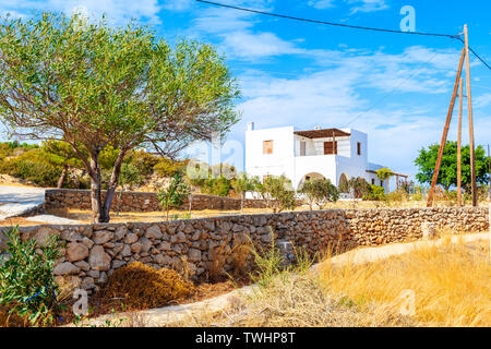 Typical Greek holiday apartment house in Ammopi village, Karpathos island, Greece