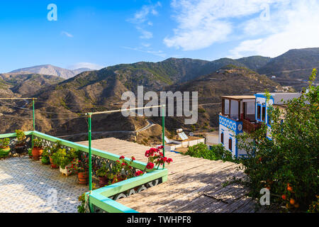 View of mountains in Olympos village, Karpathos island, Greece - Stock Photo