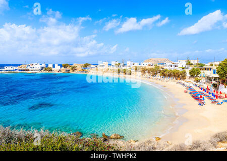 Beautiful beach with amazing sea colors in Lefkos village on coast of Karpathos island, Greece - Stock Photo