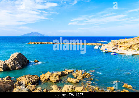 View of Finiki port bay, Karpathos island, Greece - Stock Photo