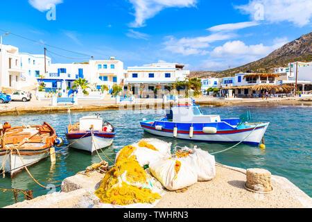 Fishing boats in Finiki port on Karpathos island, Greece - Stock Photo