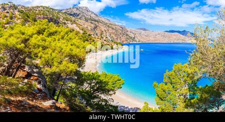 Panoramic view of beautiful Apella beach on Karpathos island, Greece - Stock Photo