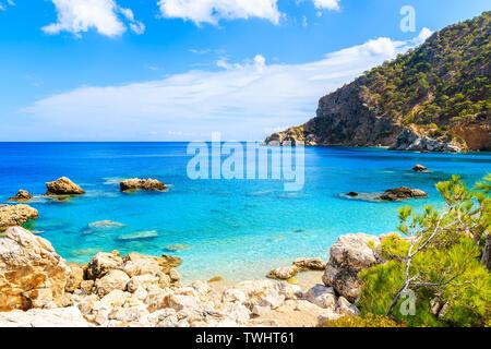 Amazing coast with azure sea near Apella beach on Karpathos island, Greece - Stock Photo