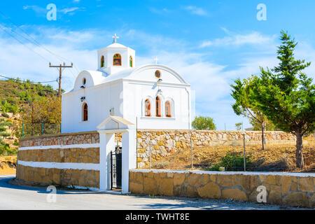 Traditional white church near Aperi village, Karpathos island, Greece - Stock Photo