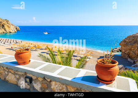 Kyra Pynagia bay with beautiful beach on Karpathos island, Greece - Stock Photo