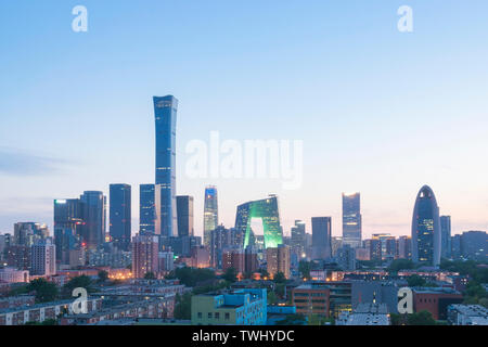 Night View of Beijing International Trade CBD Business District - Stock Photo
