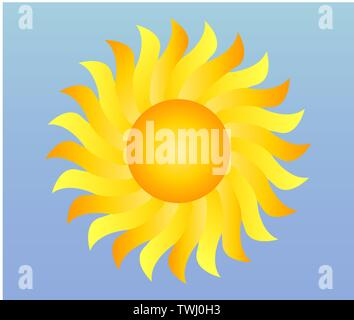 illustration of cool single weather icon - shiny sun in the blue sky - Stock Photo