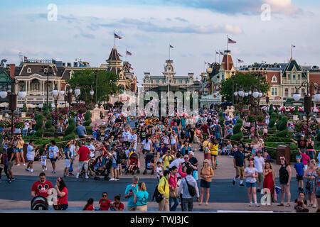 Orlando, Florida. May 10, 2019. Panoramic view of Main Street from Cinderella Castle in Magic Kingdom at Walt Disney World. - Stock Photo