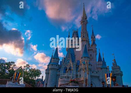 Orlando, Florida. May 10, 2019. Top view of Cinderella Castle on sunset background in Magic Kingdom at Walt Disney World  . - Stock Photo
