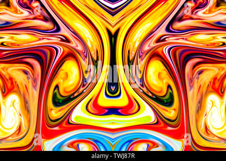 Colorful liquid paints mixed together creating modern abstract pattern. - Stock Photo