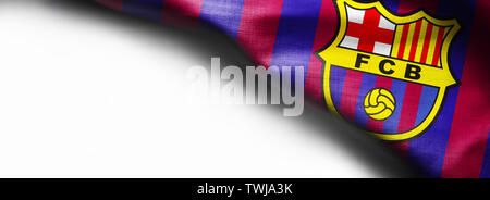 November 7, 2015, Barcelona, Spain - The Logo of Barcelona Football Club on waving flag on white background - Stock Photo