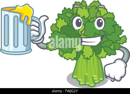 With juice rabe broccoli in vegetable mascot basket - Stock Photo